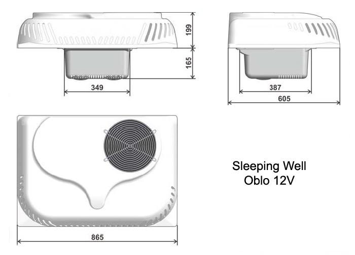 Klimatizace Indel B Sleeping Well Oblo 12V 950W střešní č. 2
