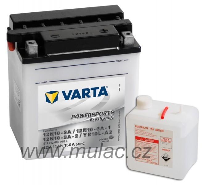 Motobaterie VARTA 511012 YB10L-A2, 12N10-3A-2, 12N10-3A 12V 11Ah 90A č. 1