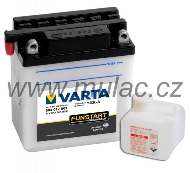Motobaterie 503012 VARTA 12V/ 3Ah/ 10A (!zasíláme pouze suchou!) č. 1