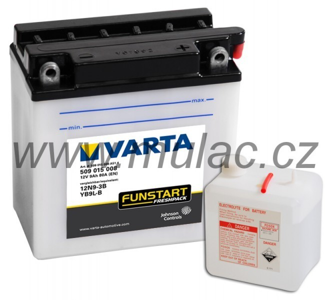 Motobaterie VARTA 509015 YB9L-B, 12N9-3B 12V 9Ah 80A č. 1