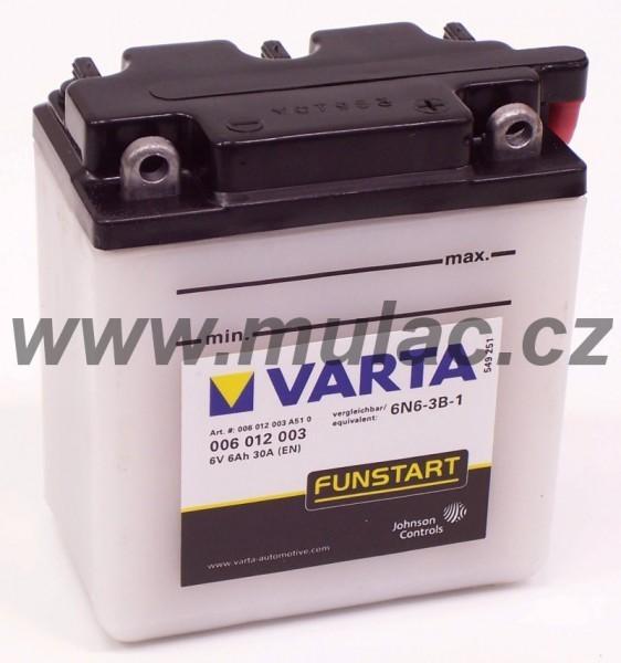 Motobaterie 006012 VARTA 6V/ 6Ah/ 30A (!zasíláme pouze suchou!) č. 1