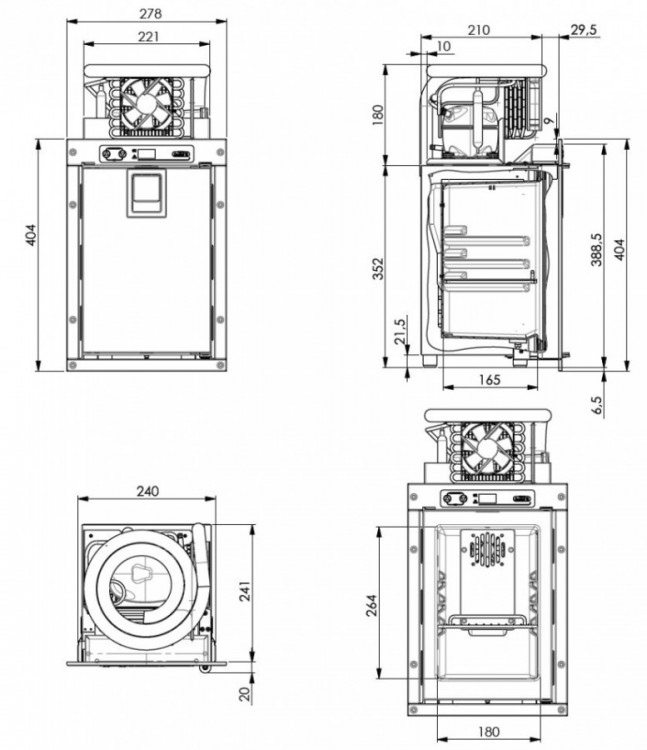 FM07 chladnička pro sanitní vozy, 7L, 12/24V, 4°C, rozměry chladničky