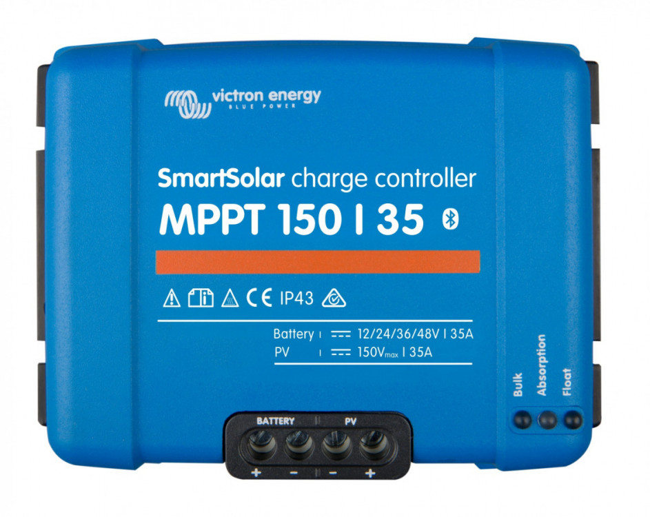 Špičkový ultra rychlý MPPT solární regulátor 35A, až do 150V solárních panelů. Napětí baterie 12/24/48V. Bluetooth zabudované rozhraní.