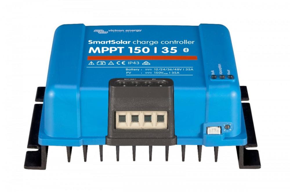 Špičkový ultra rychlý MPPT solární regulátor 35A, až do 150V solárních panelů. Napětí baterie 12/24/48V. Bluetooth zabudované rozhraní. Spodní pohled