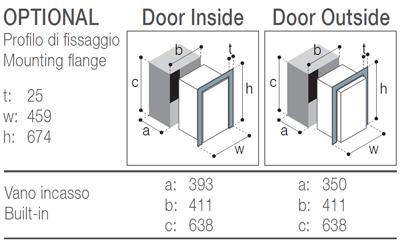 C50i Vitrifrigo, montážní rozměry
