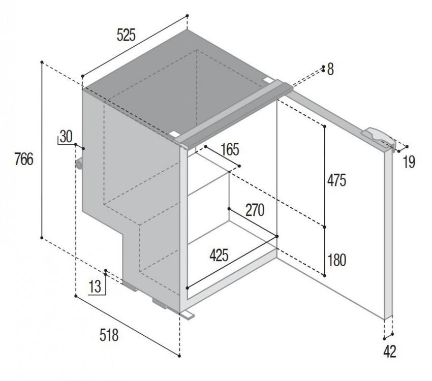 C115i kompresorová chladnička 12/24 V 115 litrů, pevná chladící jednotka / rozměry