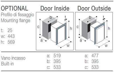 C51DW Vitrifrigo montážní rozměry