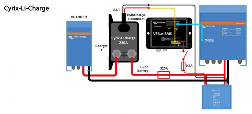 Cyrix-li-charge 12/24V 230A, CYR010230430, zapojení