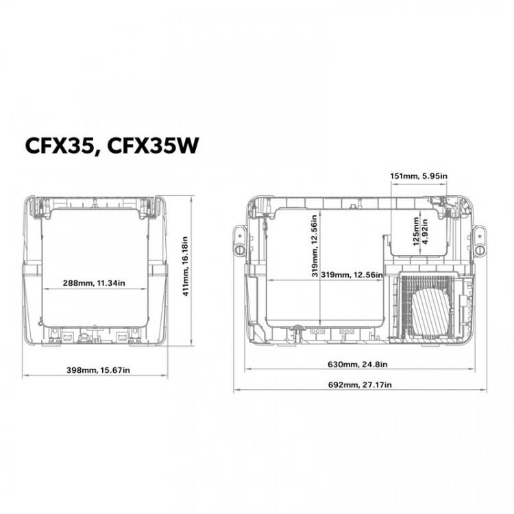CFX 35W Dometic rozměry