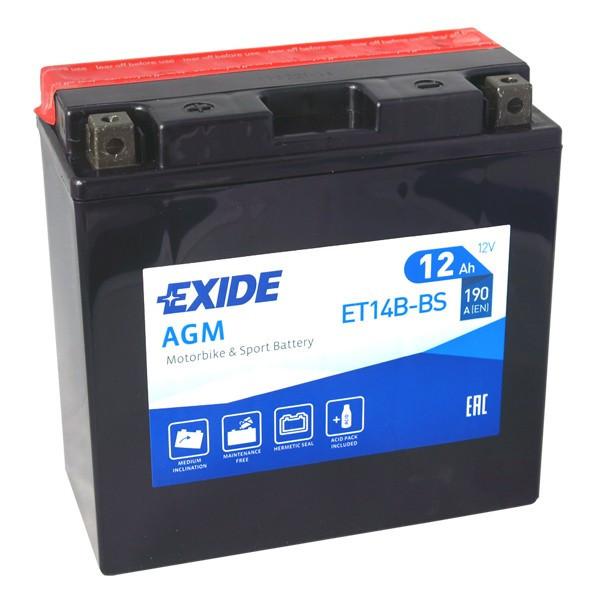 Motobaterie EXIDE ET14B-BS 12V 12Ah 190A