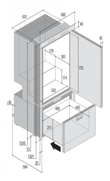 Vitrifrigo DW250 RFX rozměry