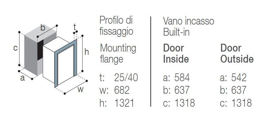 Vitrifrigo DW250 RFX  montážní rozměry