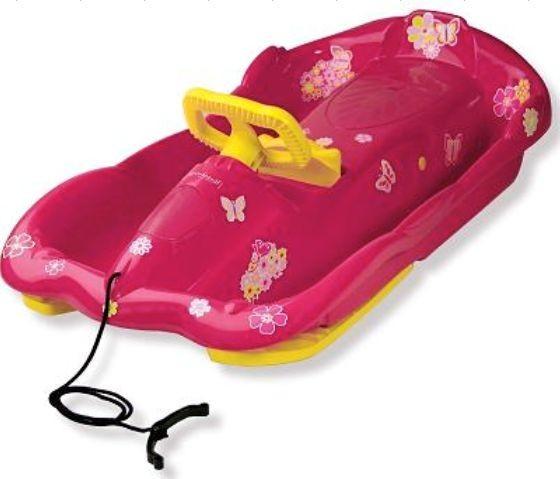 Řiditelné dětské boby AlpenSpace růžové s volantem č. 1